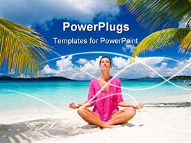 Woman meditating on tropical beach in pink powerpoint template