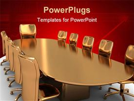 PowerPoint template displaying a set of brown gold colored meeting chairs and a table