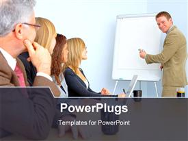 PowerPoint template displaying business person giving presentation on white board, people listening carefully