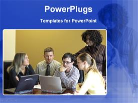 PowerPoint template displaying group having discussion all focused on laptop screen