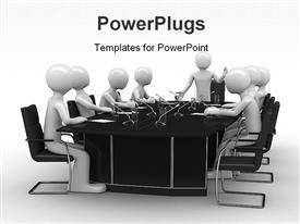 PowerPoint template displaying group of white figures sitting around black table with microphones