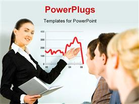 PowerPoint template displaying beautiful woman making financial presentation to group of people