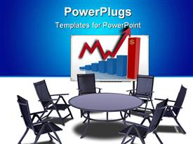 PowerPoint template displaying a number of chairs and a round table