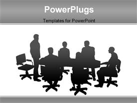 PowerPoint template displaying staff meeting or board meeting in slotted, vector style in the background.