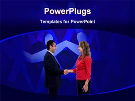 PowerPoint template displaying a man and a woman shaking their hands together