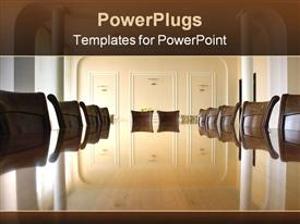PowerPoint template displaying classy boardroom with brown chairs and glossy brown table