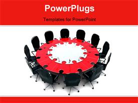 Conceptual conference-table. The table consist of puzzle pieces powerpoint design layout