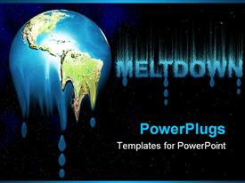 PowerPoint template displaying earth melting away