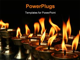 PowerPoint template displaying memorial candles burning inside dark temple Nepal in the background.