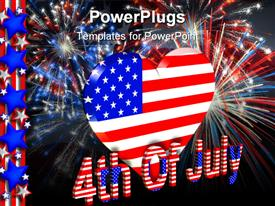 PowerPoint template displaying 4th of July theme with American flag heart, red white and blue fireworks, stars and stripes border