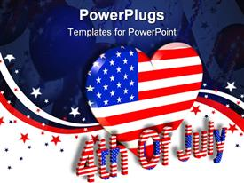 PowerPoint template displaying a large heart with the USA flag color and a