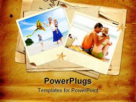 PowerPoint template displaying two pictures of a family and a couple on a dsandy background
