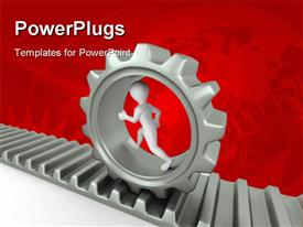 PowerPoint template displaying a person in a gear with reddish background