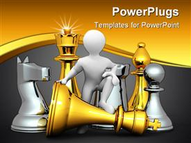 Men with chess. 3D Very beautiful three-dimensional illustration template for powerpoint