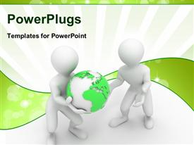 PowerPoint template displaying two white 3D characters carrying a green earth globe