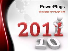PowerPoint template displaying the new year celebration of 2011 with map in the background