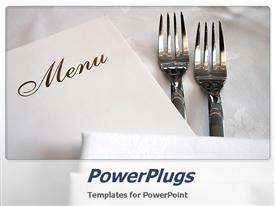 PowerPoint template displaying menu with forks on white table cloth in the background.