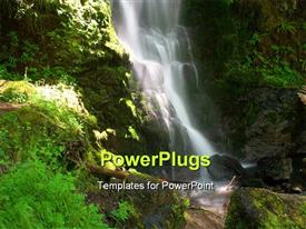 PowerPoint template displaying merriman Falls in the Quinault temperate rainforest area of Olympic National Park