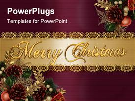 PowerPoint template displaying a collection of Christmas celebration material with golden banner