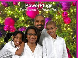 PowerPoint template displaying black American family of four poses beside decorated Christmas tree