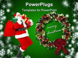 PowerPoint template displaying a representation of Christmas celebrations with green background