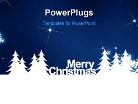 PowerPoint template displaying merry Christmas, snowflake on the blue background with sparkles