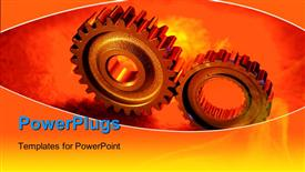 PowerPoint template displaying two gears meshing together