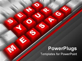 PowerPoint template displaying the keyboard showing the words send your message