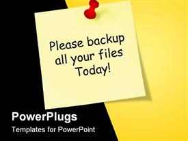 PowerPoint template displaying red pin yellow pinned sticky note with please backup all your files today exclamation mark on black and yellow background