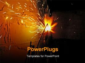 PowerPoint template displaying steel pipe is cut off by flame of gas cutter. Is Dangerous For A Man