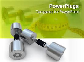 PowerPoint template displaying 3D display of a pair of metallic dumbbells on a white background