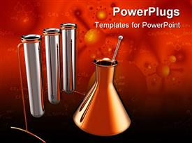 PowerPoint template displaying three labouratory test tubes with a flask on a red bckground