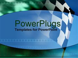 PowerPoint template displaying checkered flag in the background.