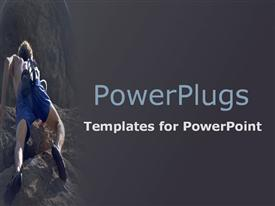 PowerPoint template displaying a man in blue shorts climbing a rocky mountain