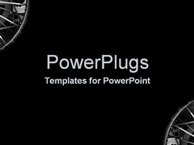 PowerPoint template displaying two metal spokes on the corners with place for text in middle