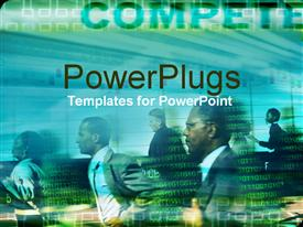 PowerPoint template displaying lots of business people running with lots of binary codes