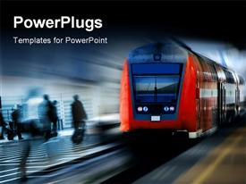 PowerPoint template displaying fast moving red train against a blurred background