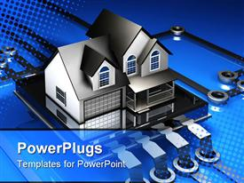 PowerPoint template displaying 2-story house sitting on top of a simple electronic microchip in the background.