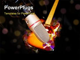 Vintage microphone on stage with colorful reflectors on the background template for powerpoint