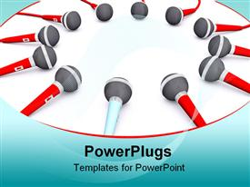 PowerPoint template displaying lots of red and white colored microphones on a white background