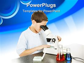 PowerPoint template displaying school boy in the school laboratory looking through a microscope. White background