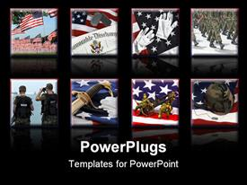PowerPoint template displaying a number of American soldiers with black background