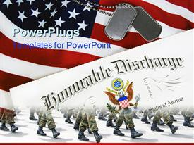 PowerPoint template displaying dog tags and honorable discharge on an American flag