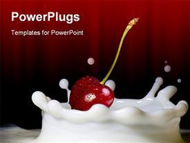 PowerPoint template displaying red cherry on milk splash in dark red background
