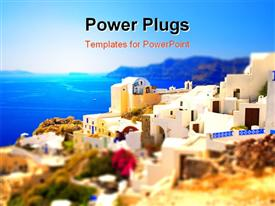 PowerPoint template displaying miniature paradise (Santorini Island Greece)