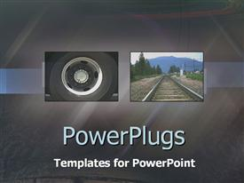 PowerPoint template displaying collage of wheel and rail on dark background