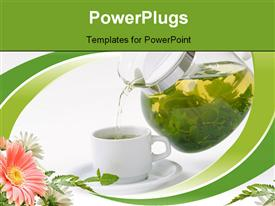 PowerPoint template displaying cup with mint tea and teapot