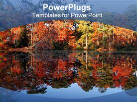 PowerPoint template displaying autumn depiction with trees reflecting in the lake water