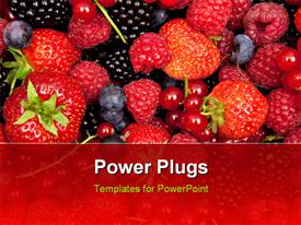 PowerPoint template displaying fresh mix of fruits, strawberries and vine fruit