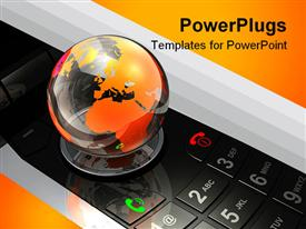 Glossy transparent globe sitting on top of a large mobile phone template for powerpoint